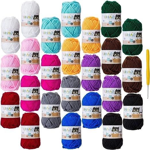 LIHAO 24 Lanas para Tejer Ovillos de Lana Estambre Algodón Lanas Crochet (15g x 12 Colores): Amazon.es: Hogar
