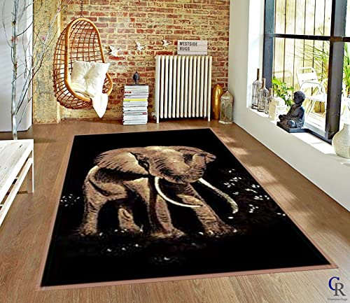 Bold African Elephant Tusks Modern Safari Animal Carpet Area Rug 5 3 X 7 5