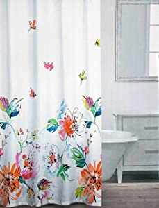 Caro Fabric Shower Curtain Floral Blooms Large Flower Pattern in Shades of Red Orange Blue Green on White - Laila, Multi