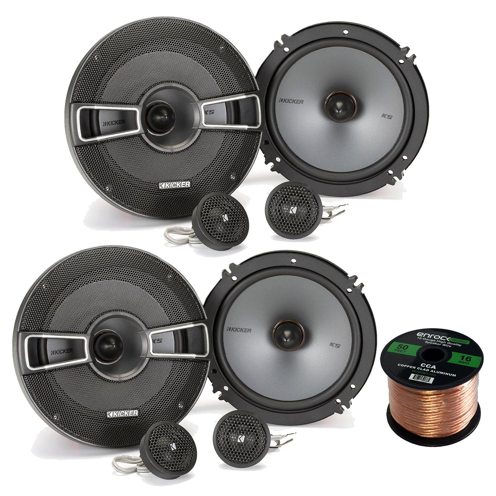 Car Speaker Set Combo Of 4x Kicker 40CS654 6.5'' 600-Watt 2-Way CS Series Car Audio Stereo Speakers + Enrock 50ft 16g Speaker Wire