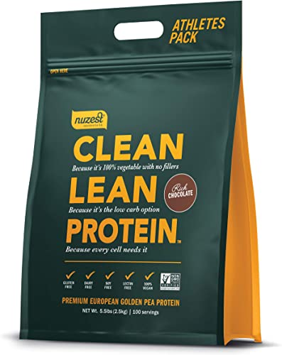 Nuzest Clean Lean Protein – Premium Vegan Protein Powder, Plant Protein Powder, European Golden Pea Protein, Dairy Free, Gluten Free, GMO Free, Naturally Sweetened, Rich Chocolate, 100 Servings, 5.5lb