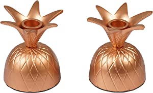 Artisanal Creations Set of 2 Pineapple Rose Gold Candle Holders – Decorative Candle Holders – Handmade Table Décor – for Home Decor, Parties, and Wedding Decorations