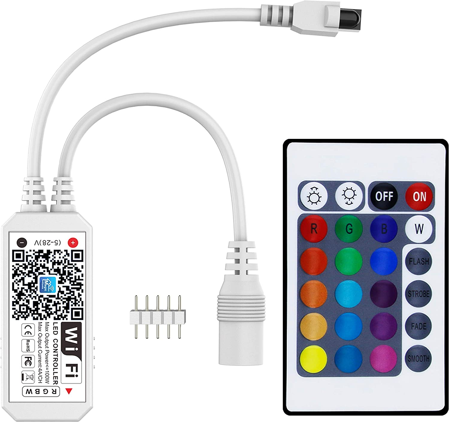 Smart WiFi RGBW LED Controller, Compatible with Alexa/Google Assistant, for 5050/3528 LED Strip Light, have 24 Key Remote Control,Support Android IOS System