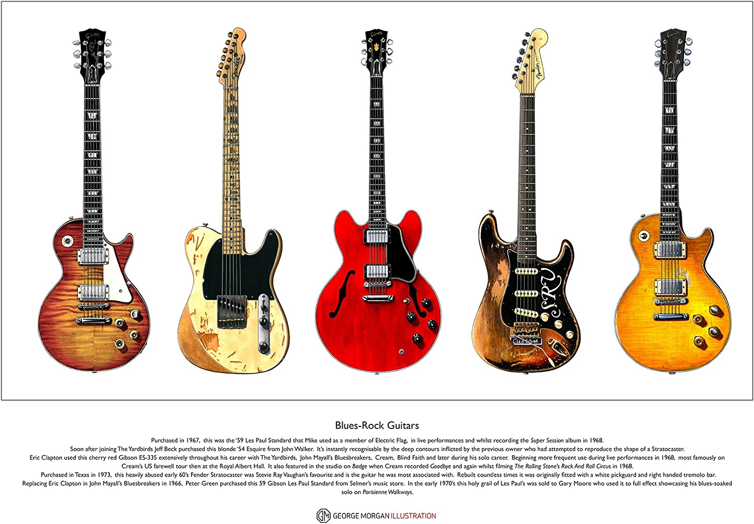 George Morgan Illustration Famosas Guitarras Blues-Rock edición ...