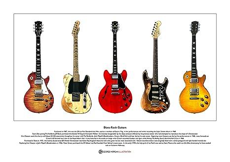 Famosas guitarras Blues-Rock edición limitada de Bellas Artes de tamaño A3