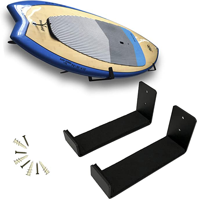 Stand-Up Paddleboards or Snowboards Horizontally Adjustable Steel Perfect for Holding up to 4 Surf Boards Katai Wakeboards SUP Complete with Board Comb Tool Surfboard Wall Mount Storage Rack