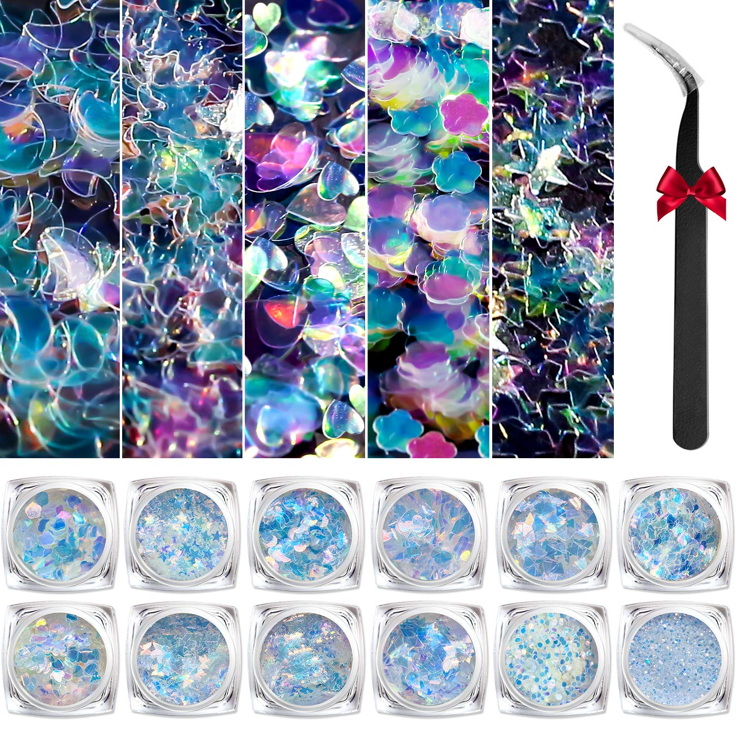 Modelones Holographic Nail Sequins 12 Colors Iridescent Mermaid Nail Glitter 3D Laser Sequins Nail Sparkle for Gel Nail Polish Dip Powder Flake Acrylic Paillettes with Tweezers Nail Art Decoration: Beauty