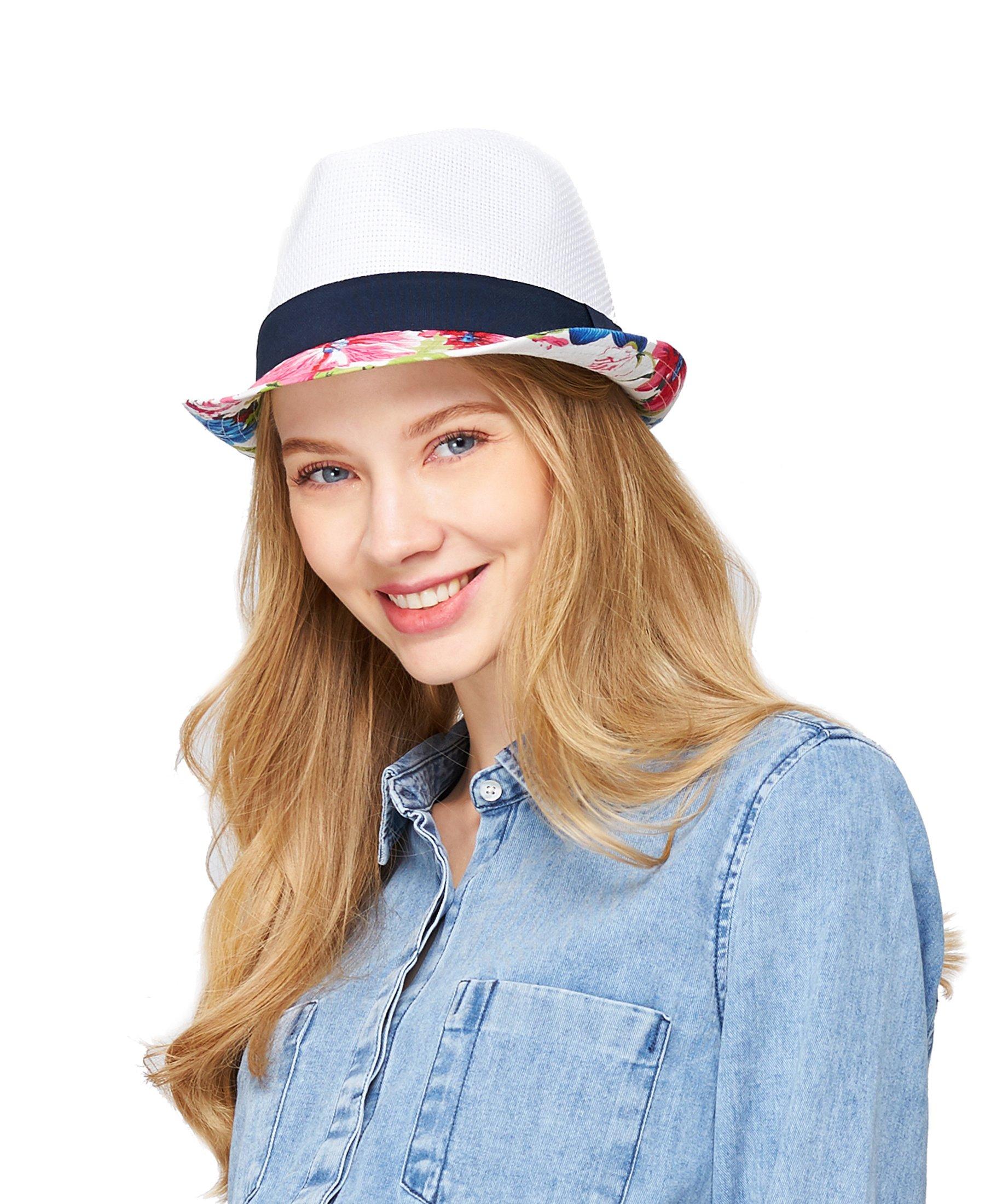 EUPHIE YING Women Men Panama Straw Summer Cotton Fedora Beach Sun Hats Short Brim