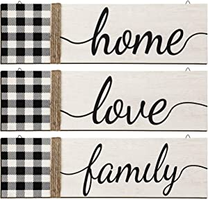 3 Pieces Home Love Family Print Wood Sign Wall Decor Rustic Farmhouse Buffalo Plaid Hanging Wooden Quotes Signs Black White Check Wood Sign Decor for Home Bedroom Living Room Office, 15.7 x 4.6 Inch