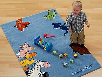Kinderteppich die lieben sieben  Kinder Teppich Die Lieben Sieben blau - Die Lieben Sieben Teppich ...