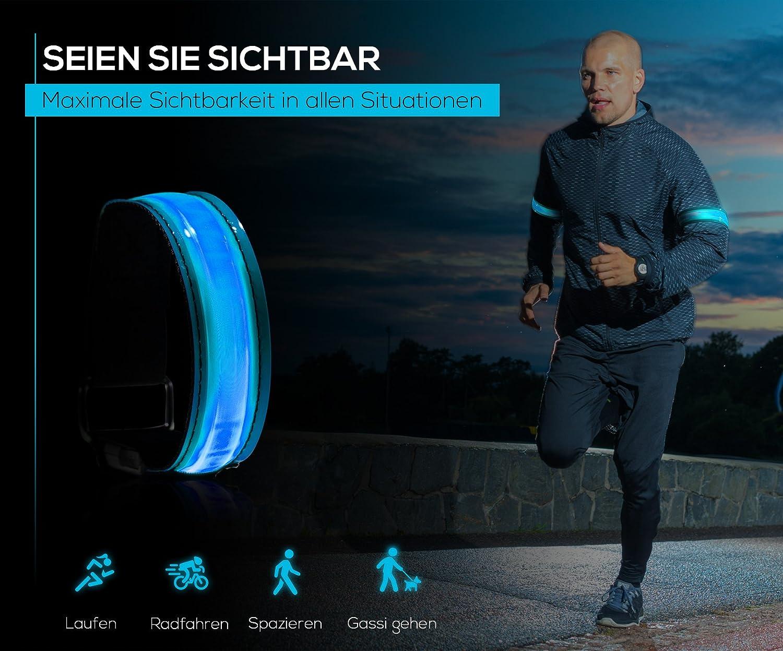 4 Gelb LED Laufen Armband Reflektierend Blinkende Joggen Hohe Sichtbarkeit