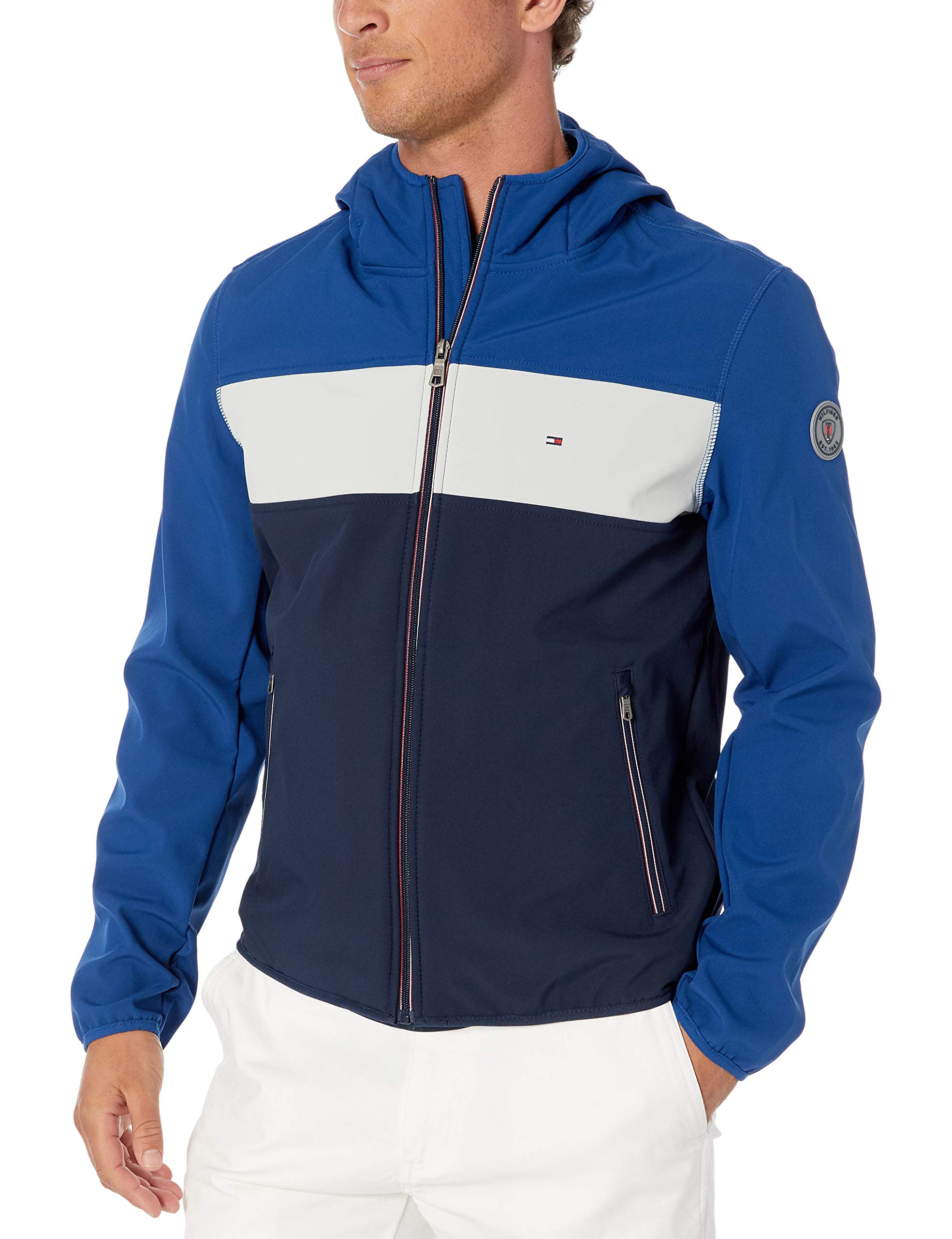 Tommy Hilfiger Men's Hooded Performance Soft Shell Jacket, Blue/White Color Block, Medium by Tommy Hilfiger