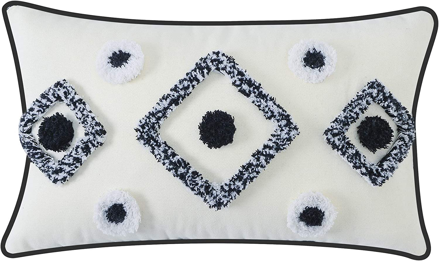 HPUK Boho Decorative Throw Pillow Cover Cotton Woven Tufted Pillows Cover Lumbar Monochrome Accent Cushion Case for Couch Sofa Chair Living Room Bedroom, 12x20, White