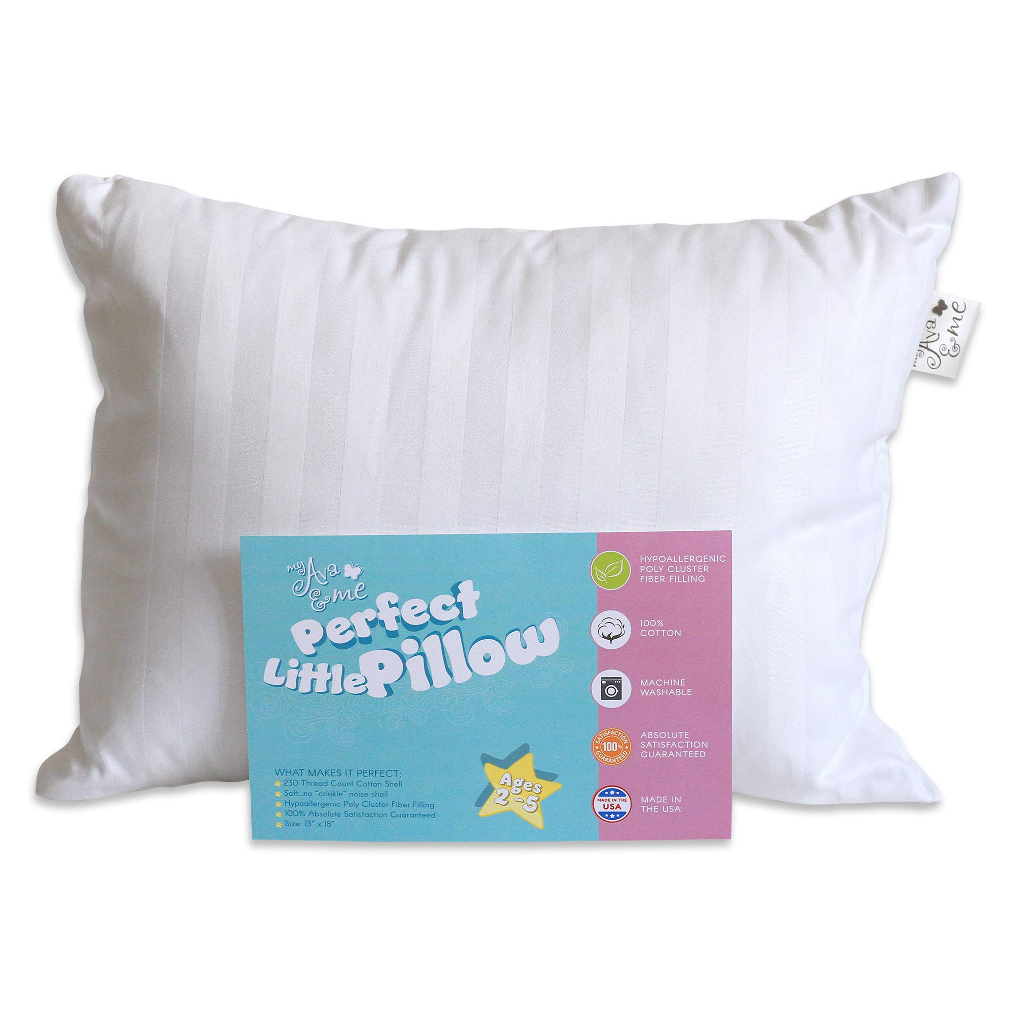 My Ava & Me: Perfect Little Sleep Pillow for Toddlers 13 x 18 Hypoallergenic 100% Cotton Soft No Crinkle Noise by my Ava and Me (Image #1)