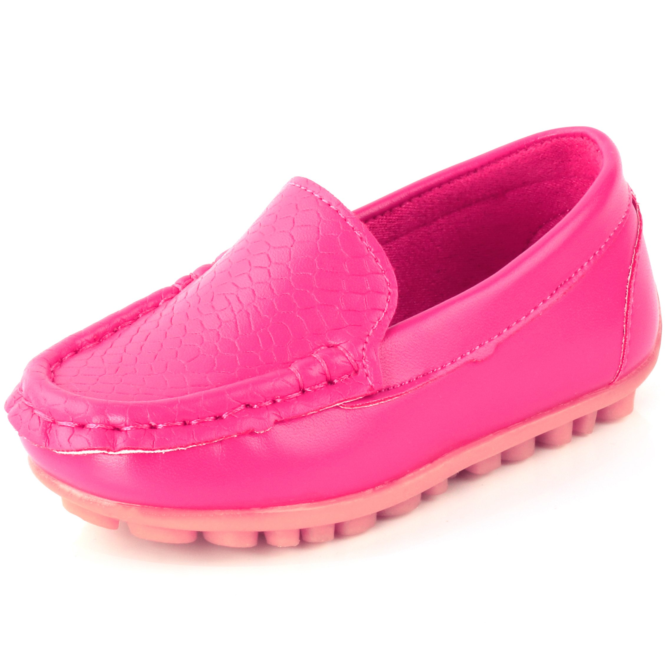 Femizee Toddler Boys Girls Loafers Shoes Casual Moccasin Slip On Dress Wedding Shoes for Kids,Hot Pink,1301 CN 29