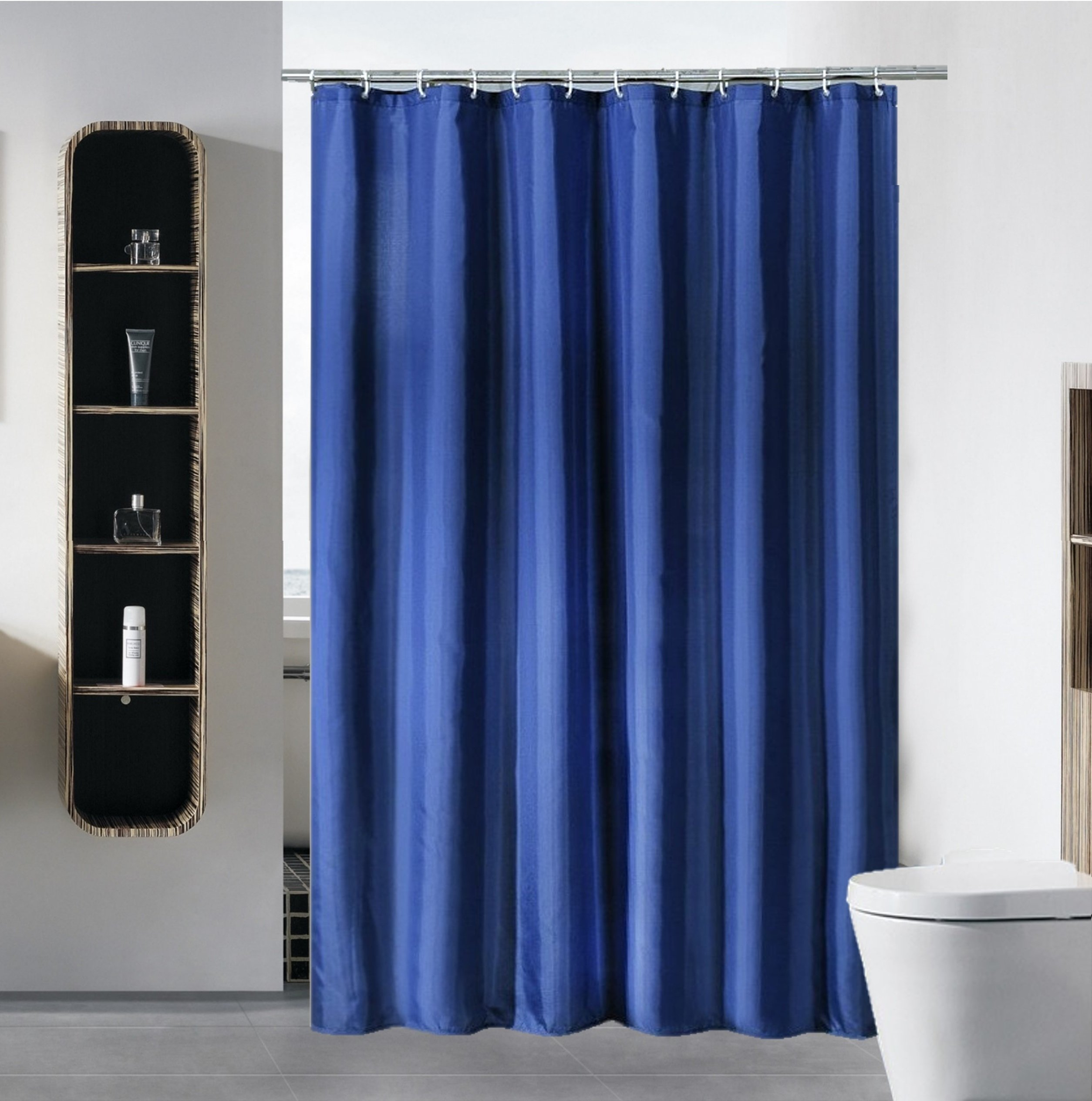 S·Lattye Shower Curtain Liner Water Repellent Fabric Mildew Resistant Washable Cloth (Hotel Quality, Eco Friendly, Heavy Weight Hem) - 72'' x 72'', Standard, Navy Blue