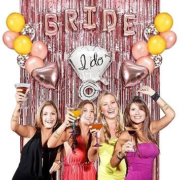 bachelorette party decorations homor 62pcs rose gold bridal shower kit bride and ring foil