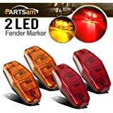 Partsam (2 Amber + 2 Red) 2.54x1.06 side marker light (amber/red lens)