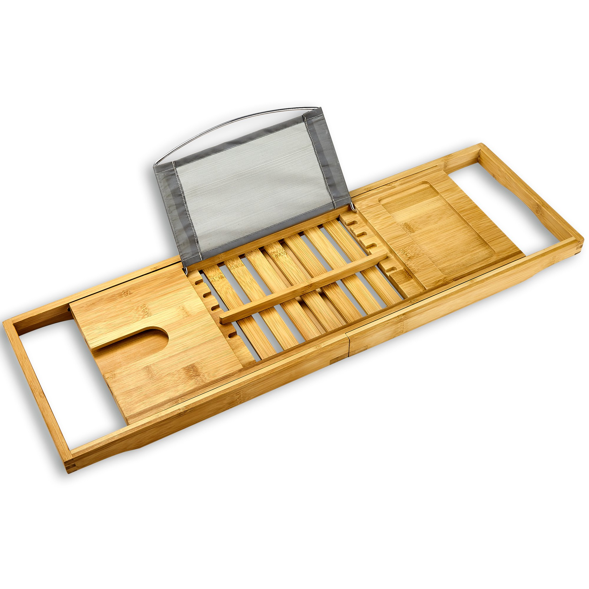 Tregini Luxury Bathtub Caddy - Extendable Bamboo Wood Bath Tray with Adjustable Book, iPad or Kindle Reading Rack - Wine Glass Holder - Cellphone or Tablet Slot by Tregini (Image #7)