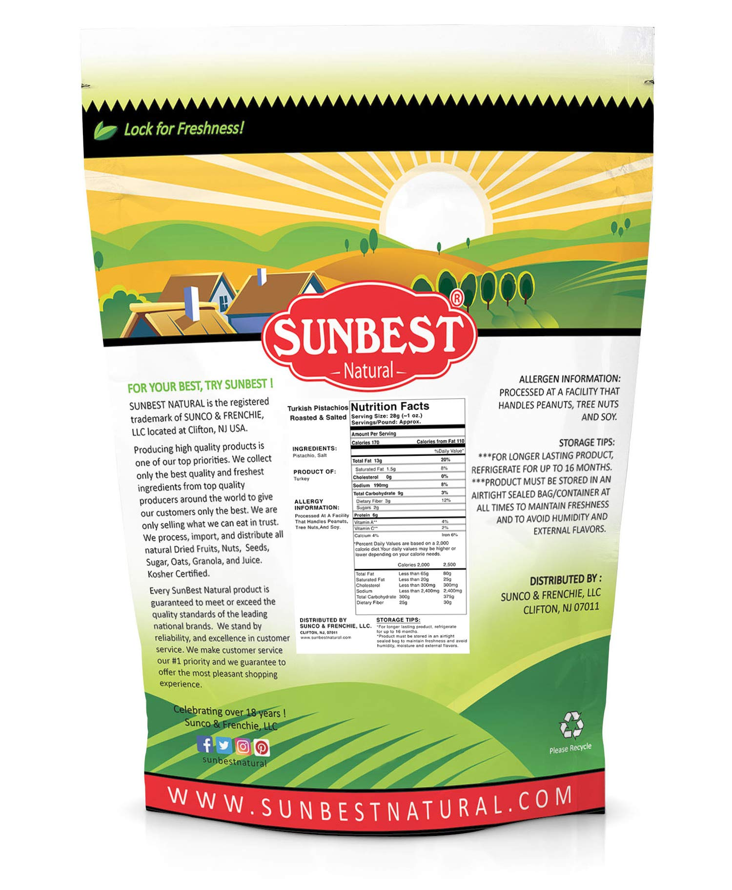 SUNBEST TURKISH PISTACHIOS ANTEP ROASTED AND SALTED IN RESEALABLE BAG (3 Lb) by Sunbest (Image #2)