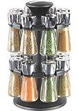 Cole & Mason CH100659 Carrousel 16 Flacons avec Épice Chromé/Transparent 19,55 x 19,55 x 30 cm