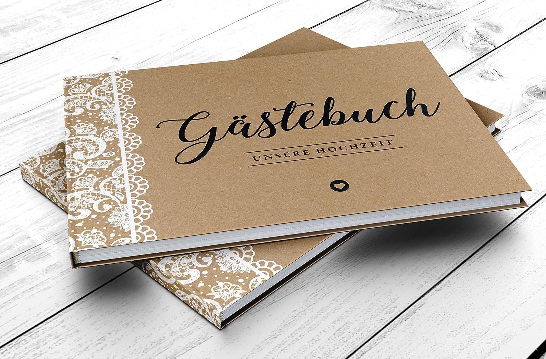DeinWeddingshop G/ästebuch Hochzeit ohne Fragen Vintage Spitze Hardcover A4 quer braun wei/ß Hochzeitsg/ästebuch