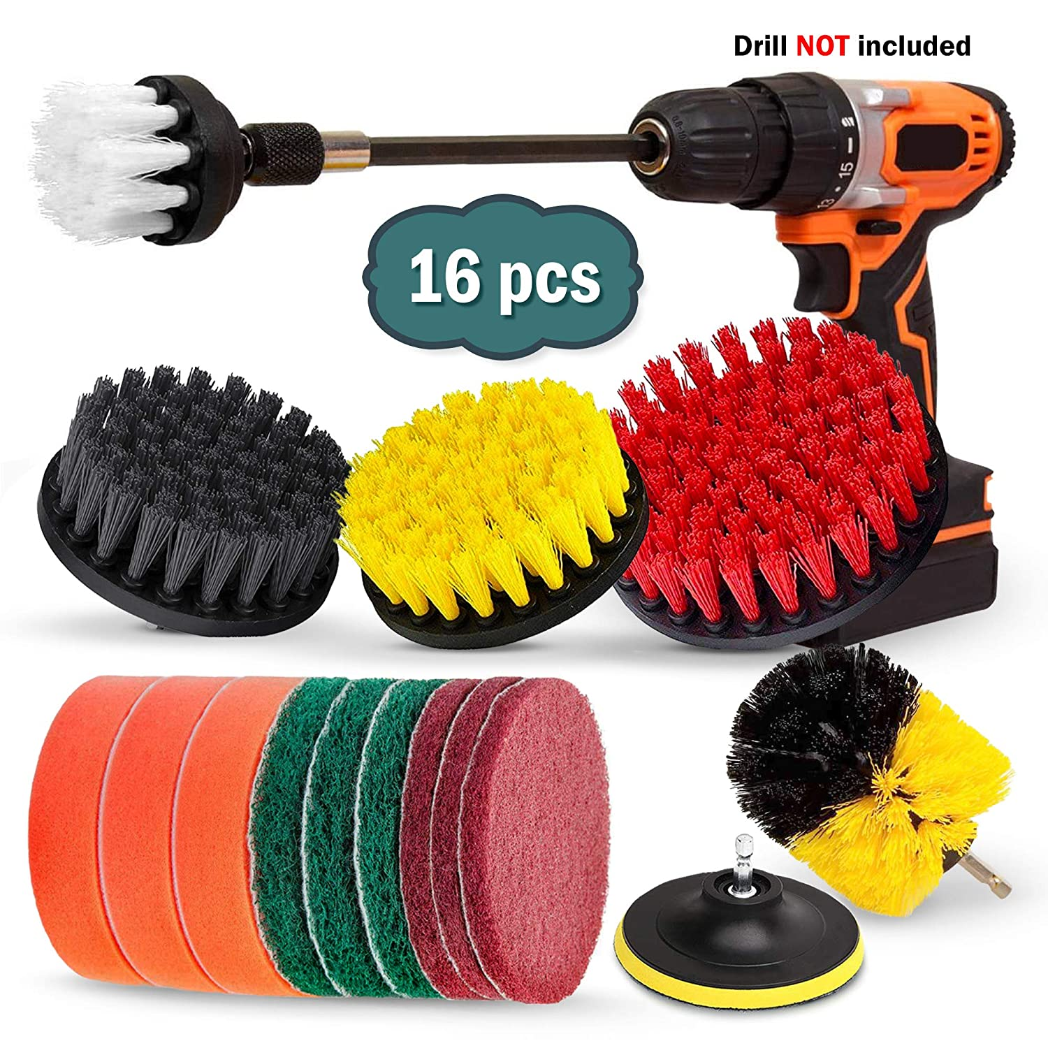 Buddy Pro 16 Piece Drill Brush Set, Extend Long Attachment, Scrub Pads, Sponge, Power Scrubber Cleaning Kit for Grout, Tile, Carpet, Sink, Bathtub, Bathroom, Shower, Tub, Kitchen, Car, Pool, Boat