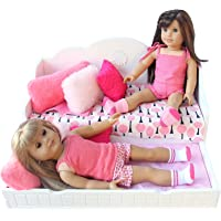 """PZAS Toys Doll Bed - Doll Day Bed with Pull Out Trundle, Complete Set with Linens, Pillows, and 18"""" Doll Pajamas, Compatible with 18"""" Doll Furniture and Accessories"""