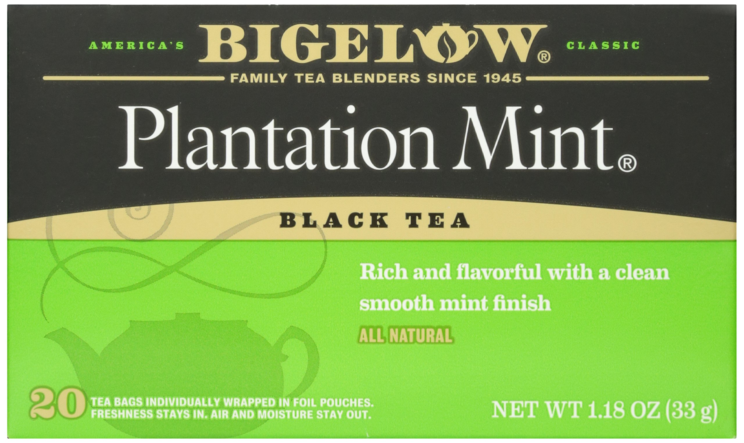 Bigelow Plantation Mint Tea 20 ct Caffeine-Free Individual Herbal Tisane Bags, for Hot Tea or Iced Tea, Drink Plain or Sweetened with Honey or Sugar