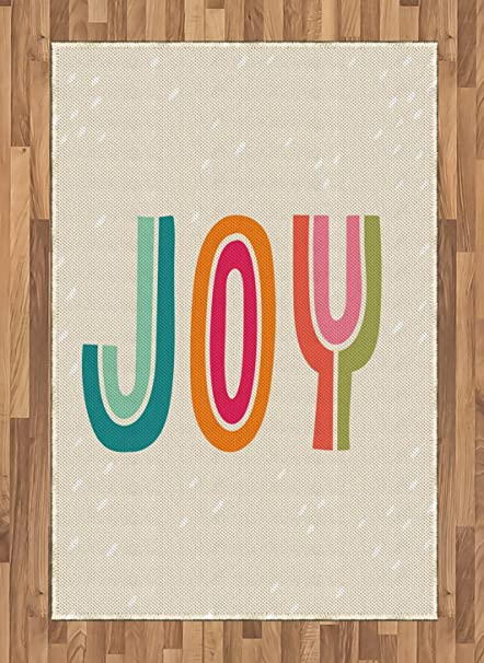 Amazoncom Lunarable Joy Area Rug Colorful Hipster Typography Of