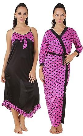 4a63b86326 Fasense Exclusive Women Satin Nightwear Sleepwear 2 PCs Set of Nighty   Wrap  Gown
