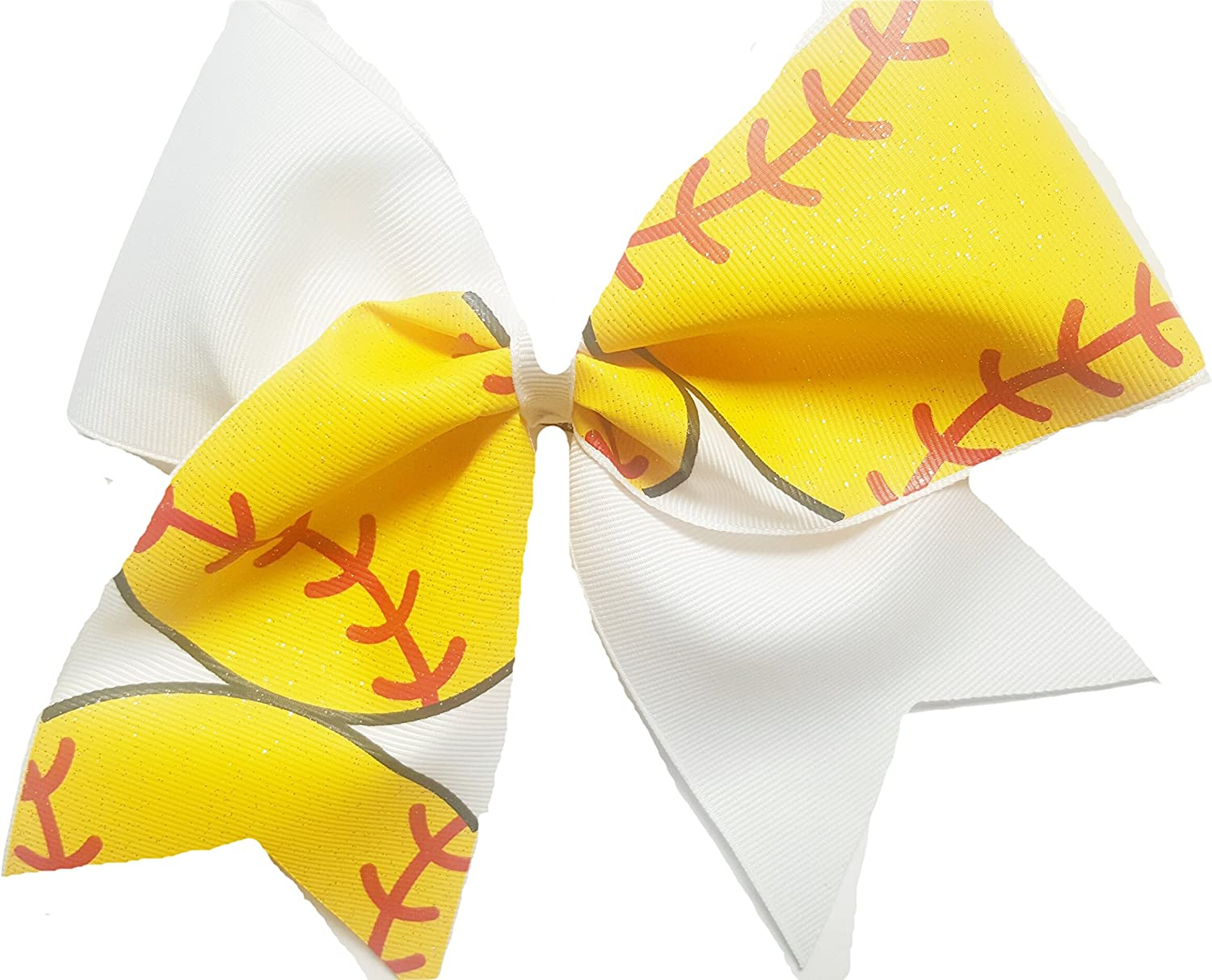 Softball Bow-Long Tail Bow Ombr\u00e9 yellow and gold Personalized Bow Cheer Bow Glitter and Non Glitter