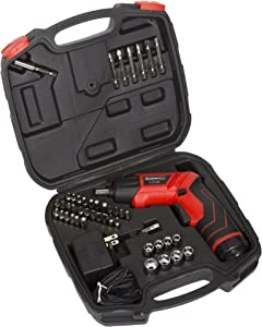 Pivoting Screwdriver 45 Pc. Set-Pivoting Cordless Power Tool with Rechargeable 3.6V Battery, LED Lights, Bits, Sockets, and Case by Stalwart