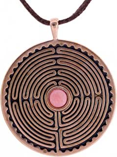 product image for Labyrinth Peace Bronze Pendant Necklace with 6mm Pink Opal Stone on Adjustable Natural Fiber Cord