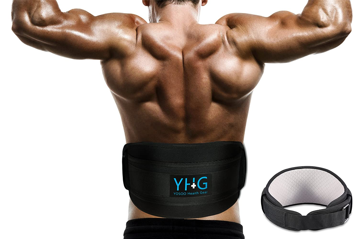 Yosoo Health Gear Weight Lifting Belt Great for Squats, Crossfit, Lunges, Deadlift, Thrusters – Best Back Belt Support for Men Women – 6 Inch Black Comfortable Adjustable Lumbar Belt Support