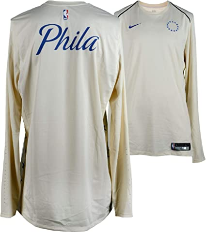 555050538e9c Robert Covington Philadelphia 76ers Player-Worn  33 Cream Long Sleeve  Warm-Up Top