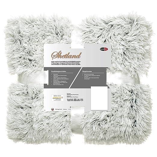 CelinaTex Shetland Manta Suave Manta de Pelo Gris Blanco ...