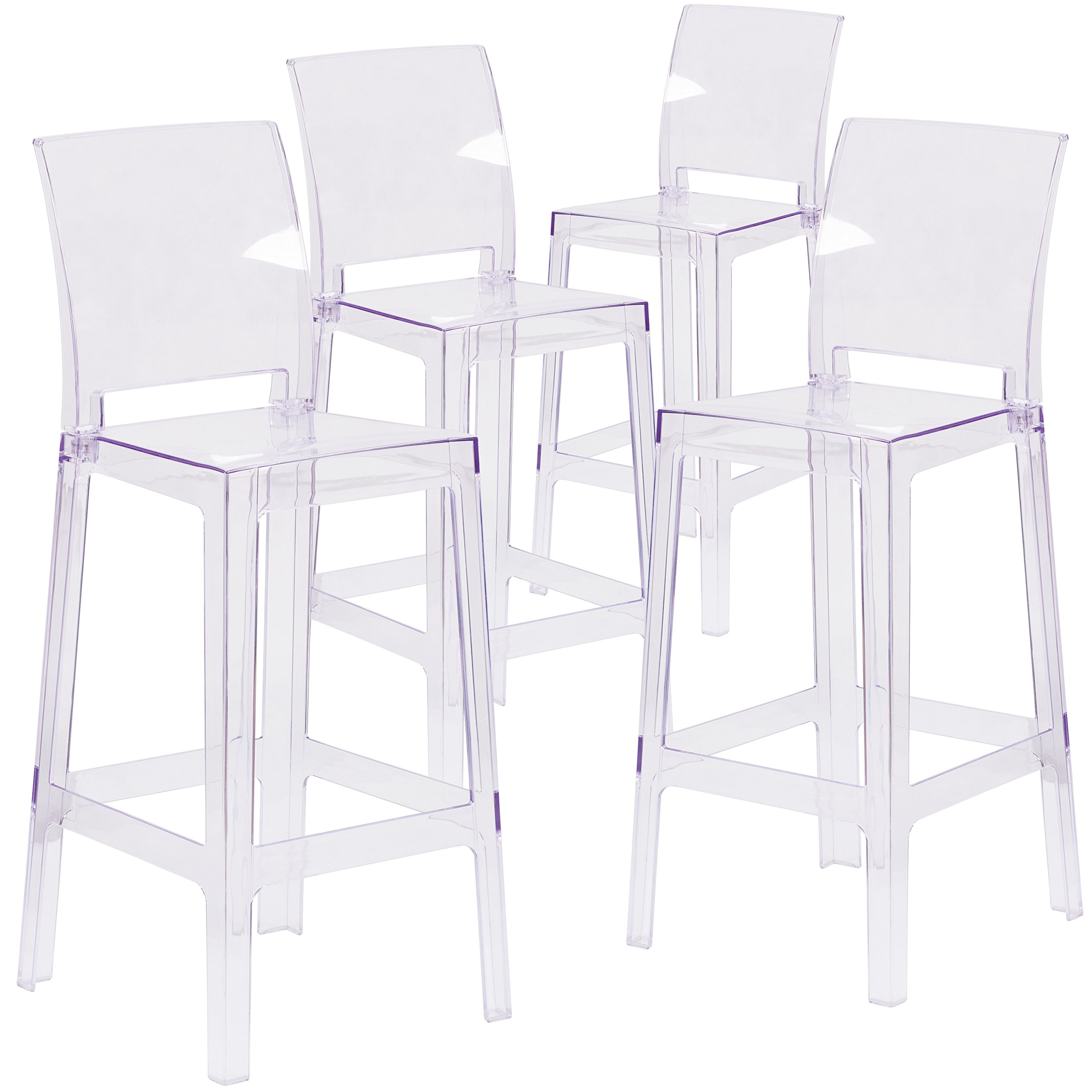 Flash Furniture 4 Pk. Ghost Barstool with Square Back in Transparent Crystal by Flash Furniture