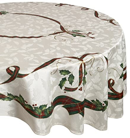 Lenox Holiday Nouveau 60 Inches By 104 Inches Tablecloth, Oval