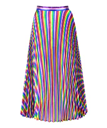7782b64a2a48 Get The Looks Rainbow Metallic Concertina Pleated Skirt (2) at ...