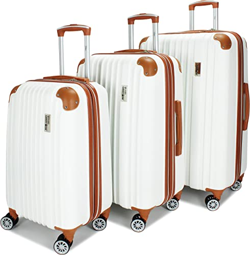 Miami CarryOn Collins 3 Piece Expandable Retro Spinner Luggage Set White