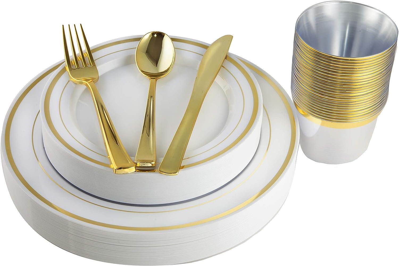 Juego de cubertería con platos dorados, vasos y cubiertos de plástico, 150 piezas dorado