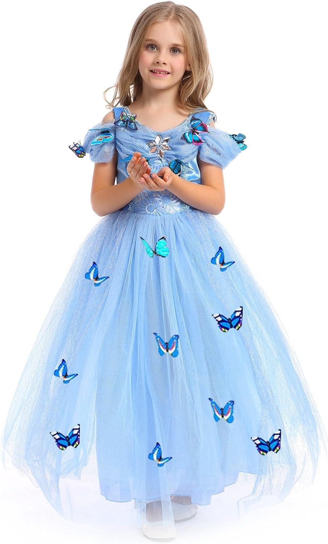 URAQT Princesa Traje del Vestido, Traje de Princesa Azul con Mariposas Vestido Infantil Disfraz de Princesa de Niñas para Fiesta Carnaval Cumpleaños Cosplay Halloween (110)