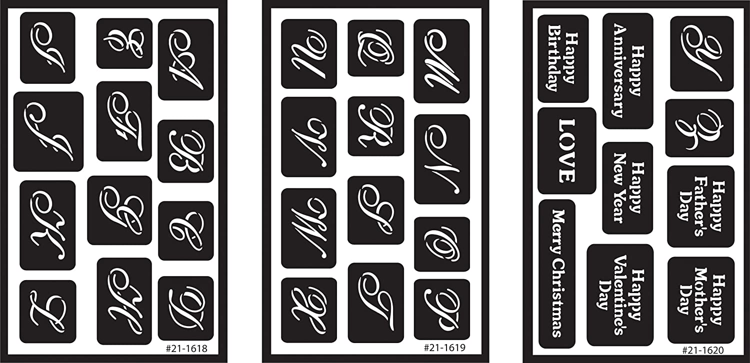 Armour Products Over /'n/' Over Reusable Glass Etching Stencils 5in 3//pkg x 8in