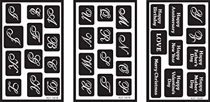 Armour Products Over N Reusable Glass Etching Stencils 5in X 8in