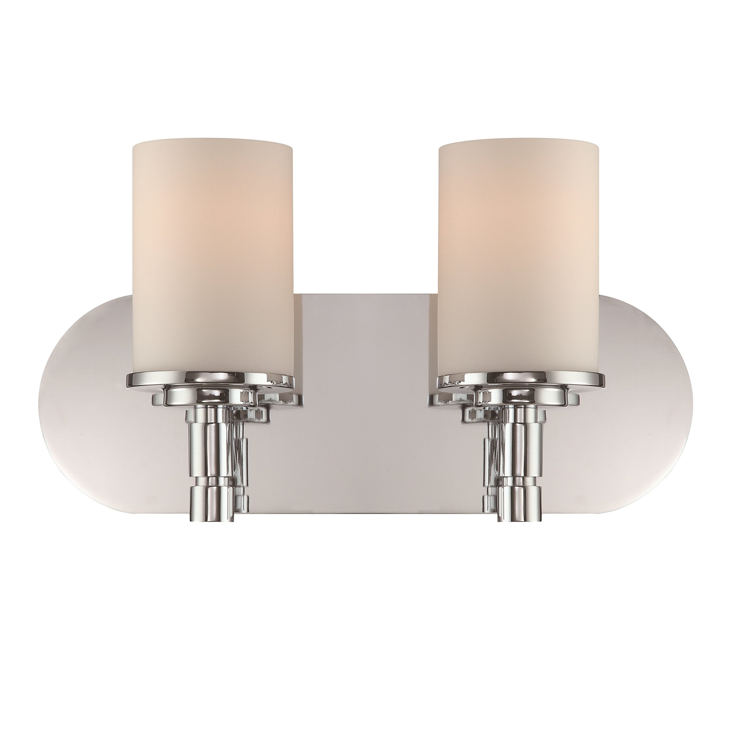 Lite Source LS-16312 E27 Type A 60W x 2 Lina 2-Lite Vanity with Chrome/Frost Glass Shade