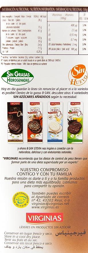 Virginias - Galleta B-San Chocolate Con Leche Sin Azúcares 120 g: Amazon.es: Alimentación y bebidas