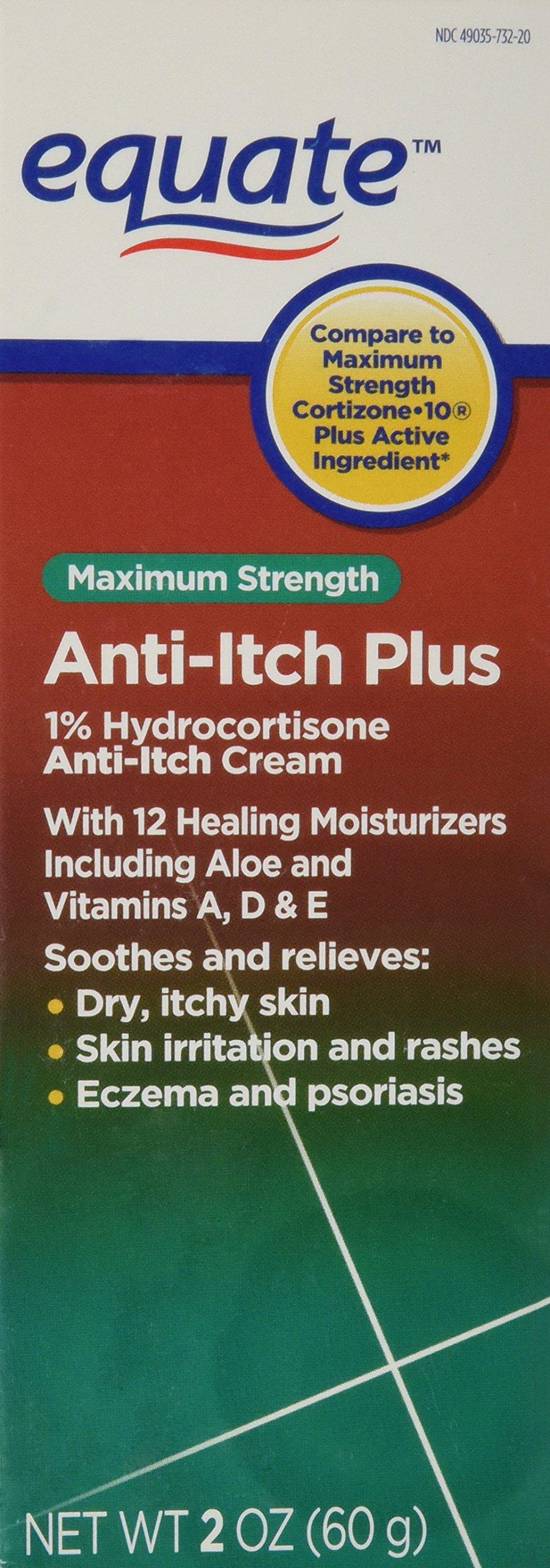 Equate - Anti-Itch Plus Cream, Hydrocortisone 1%, Maximum Strength, 2 oz (Compare to Cortizone-10). by Equate