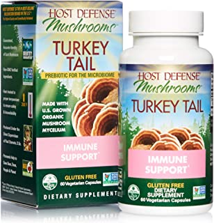 product image for Host Defense, Turkey Tail, 60 Capsules, Natural Immune System and Digestive Support, Daily Mushroom Mycelium Supplement, USDA Organic, 30 Servings