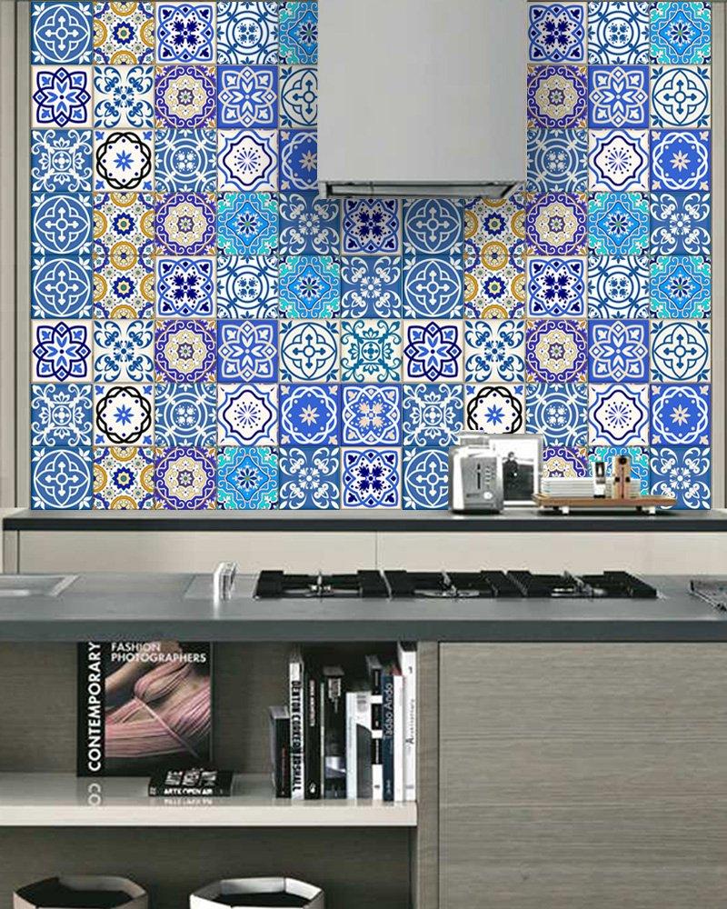 Amazon.com: Backsplash Tile Stickers 24 PC Set Authentic Traditional ...